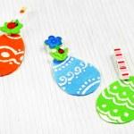 Felt Easter eggs on craft paper background — Stock Photo #67203505