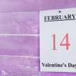 Valentines Day, February 14 on calendar on wooden background — Stock Photo #67202719