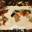 Map of world made from different kinds of spices on wooden background — Stock Photo #67203367