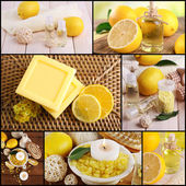 Lemon spa compositions in collage — Stock Photo