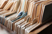 Catalog cards in library, closeup — Stock Photo