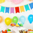 Prepared birthday table with sweets for children party — Stock Photo #67276331