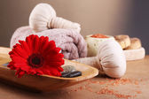Composition of spa treatment on wooden table, on light color background — Стоковое фото