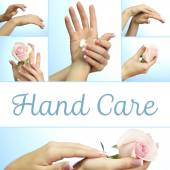 Hands with french manicure in collage — Stock Photo