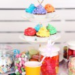 Prepared birthday table with sweets for children party — Stock Photo #67450763