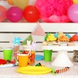 Prepared birthday table with sweets for children party — Stock Photo #67450773