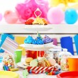 Prepared birthday table with sweets for children party — Stock Photo #67450781