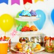 Prepared birthday table with sweets for children party — Stock Photo #67450785