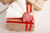 Beautiful gift box close-up. Valentine Day concept — Stock Photo