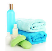 Still life with terry towels isolated on white — Stock Photo