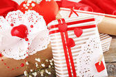 Handmade gifts on Valentine Day, close-up — 图库照片