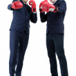 Two handsome businessmen with boxing gloves isolated on white — Stock Photo #67460905