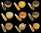 Collage of different spices in bowls on black background — Stock Photo
