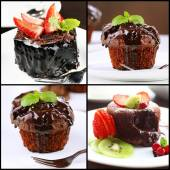 Collage of chocolate desserts — Stock Photo
