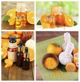 Orange spa compositions in collage — Stock Photo
