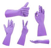 Purple gloves gestures, isolated on white — Stock Photo