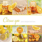 Orange and lemon spa compositions in collage — Stock Photo