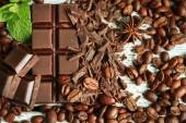Chocolate with grains and mint, closeup — Stockfoto