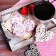 Pink cookies and cup of coffee for  Valentines Day — Stock Photo #68109595