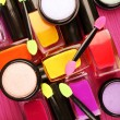 Set of colorful cosmetics on pink wooden table background — Stock Photo #68112871