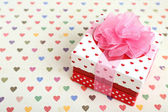 Beautiful gift box on bright background. Valentine Day concept — Stock Photo