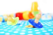 Dummy for baby, close-up, on bright background — Stock Photo