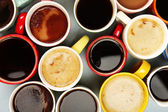 Many cups of coffee, top view — Stock Photo