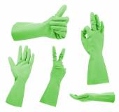 Green gloves gestures, isolated on white — Stock Photo