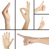 Collage of hand gestures — Stock Photo