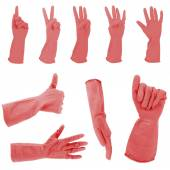 Red gloves gestures, isolated on white — Stock Photo