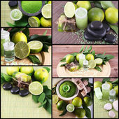Lime spa compositions in collage — Stock Photo
