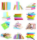 Verschillende composities met kleurrijke boeken geïsoleerd op wit in collage — Stockfoto