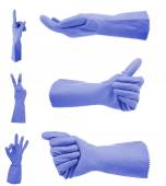 Blue gloves gestures, isolated on white — Stock Photo
