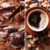 Coffee and chocolate, tasty collage — Stock Photo