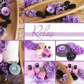 Lilac spa compositions in collage — Stock Photo