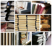Many different compositions with books in collage — Stock Photo
