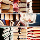 Many different compositions with books in collage — 图库照片