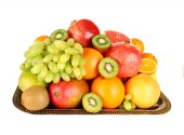 Assortment of fruits isolated on white — Stock Photo