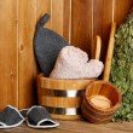 Natural accessories in sauna — Stock Photo #68526545