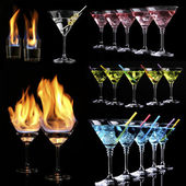Collage of different cocktails on black background — Stock Photo