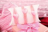 Handmade gift on Valentine Day, close-up — Stockfoto