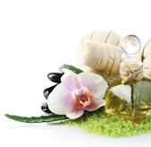 Spa treatments with orchid flower isolated on white — Stock Photo