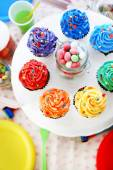 Prepared birthday table with sweets for children party — Stock Photo