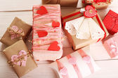 Beautiful gift boxes close-up. Valentine Day concept — Stock Photo
