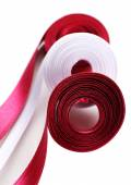 Colorful vinous and white ribbons isolated on white — Stock Photo