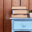 Interior design with plant and stack of books on tabletop on wooden planks background — Stock Photo #68728991