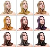 Concept of coloring hair. Portraits of beautiful woman with long hair — Stock Photo