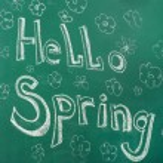 Hello spring written with chalk on blackboard — Stock Photo #68732081