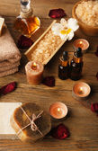 Spa still life on wooden table background — Stock Photo