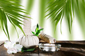 Spa compress balls with green leaves on wooden table — Stock Photo
